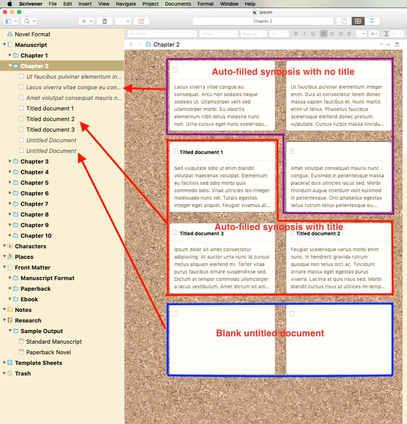 Scrivener Corkboard with mixed synopsis types