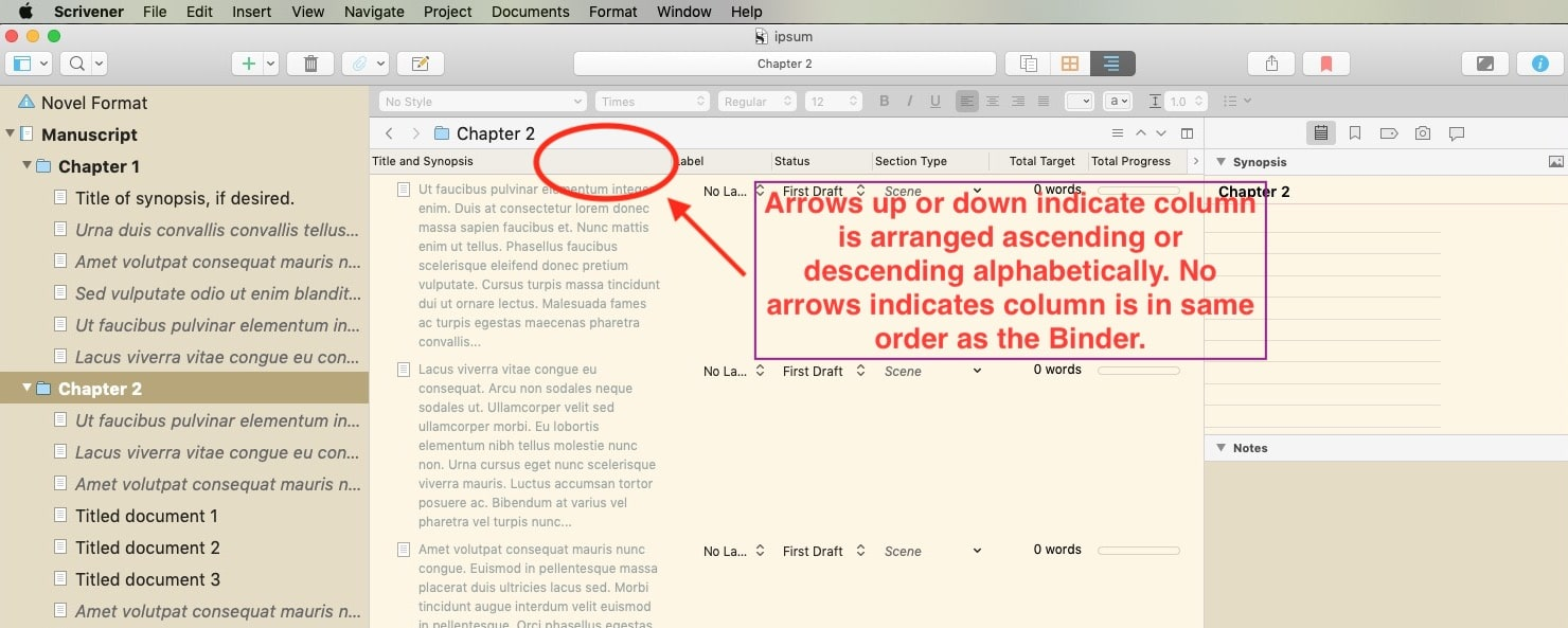 Scrivener for Mac change order of items in Outliner title and synopsis column