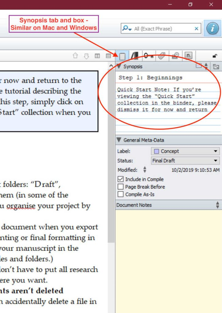 Scrivener for Mac and Windows synopsis box in Inspector