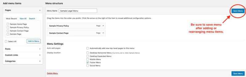 Be sure to save menu after adding or removing items in WordPress menus.