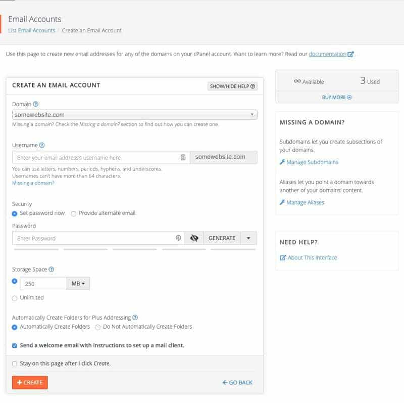cPanel set up email account