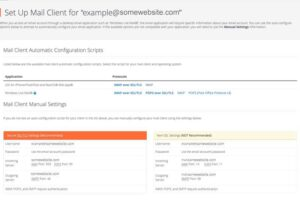 cPanel instructions to set up email in client