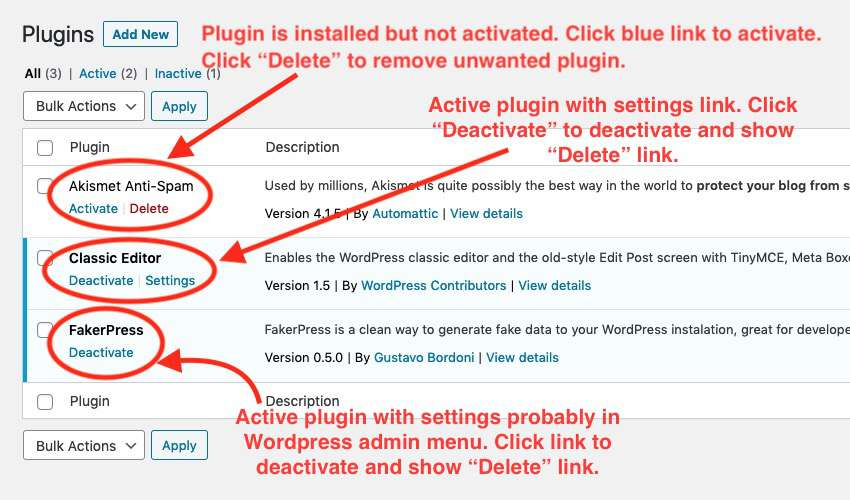WordPress installed plugins page with instructions