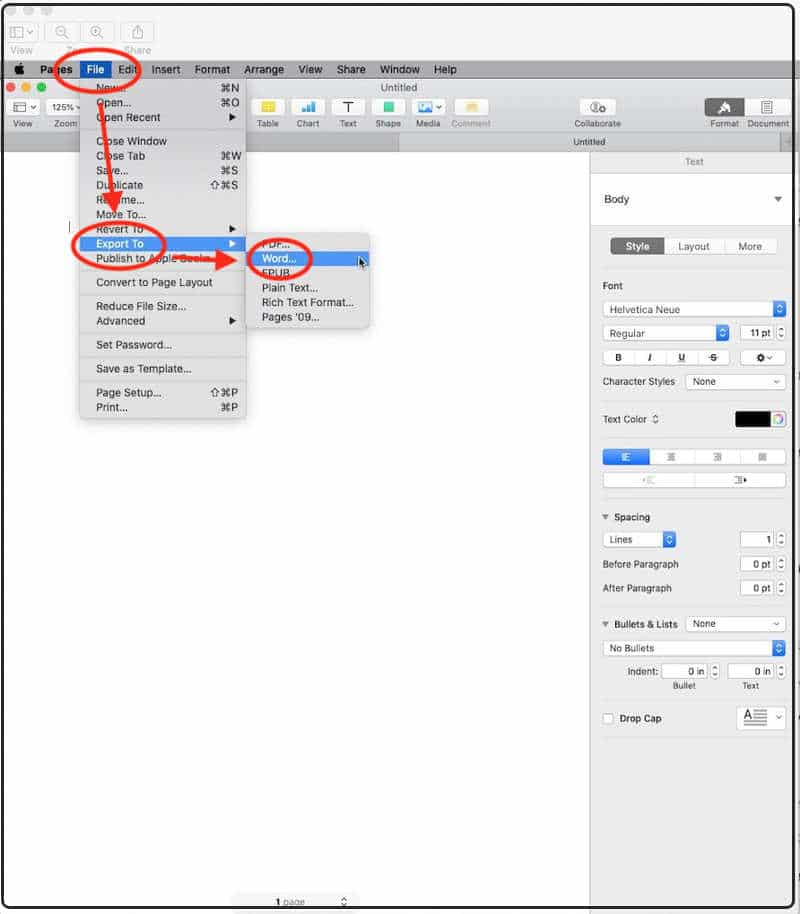Export Pages files to MS Word on Mac