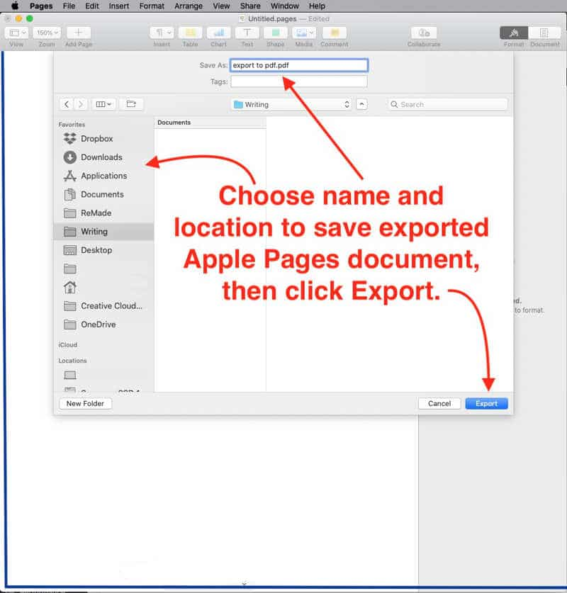select file name and save location for exported pdf in Apple Pages