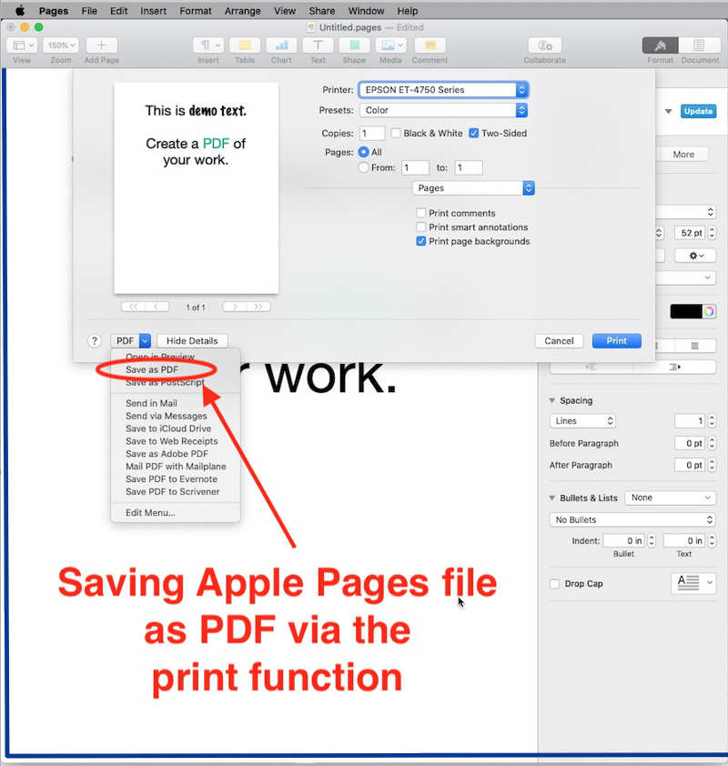 Save Apple Pages file as PDF via print function