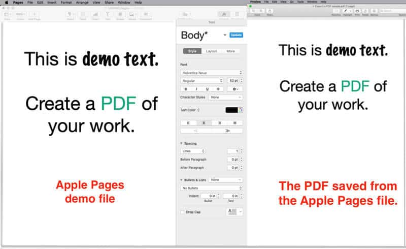 comparison of apple pages file and exported PDF