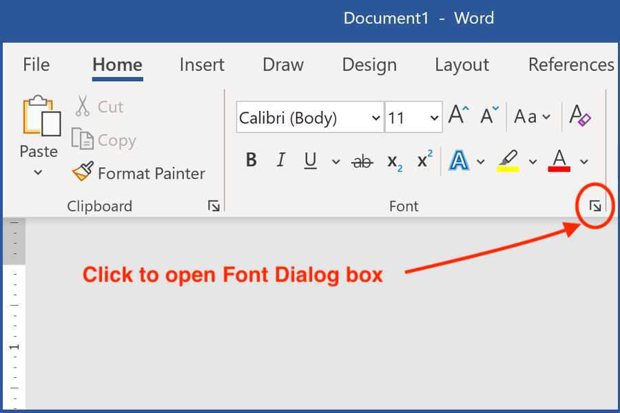how to open font dialog box Microsoft Word for Windows