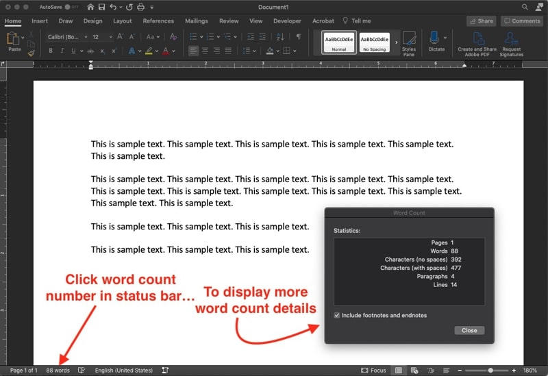 Count words in Microsoft Word