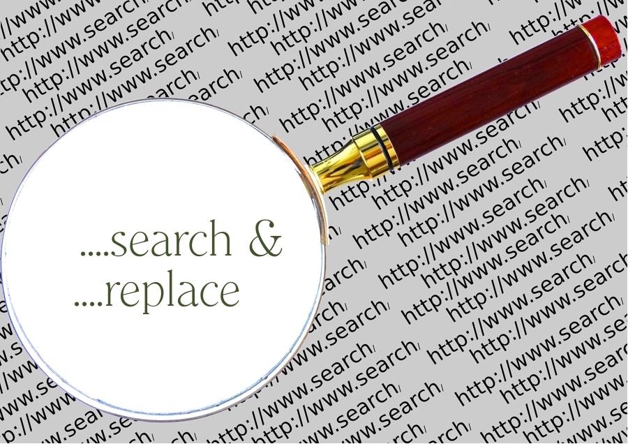 magnifying glass on words. how do you find and replace in Word