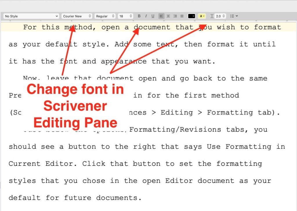 change font in Scrivener editing pane