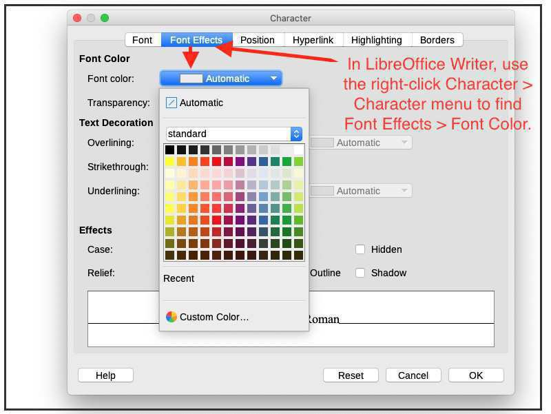 change text color in LibreOffice Writer