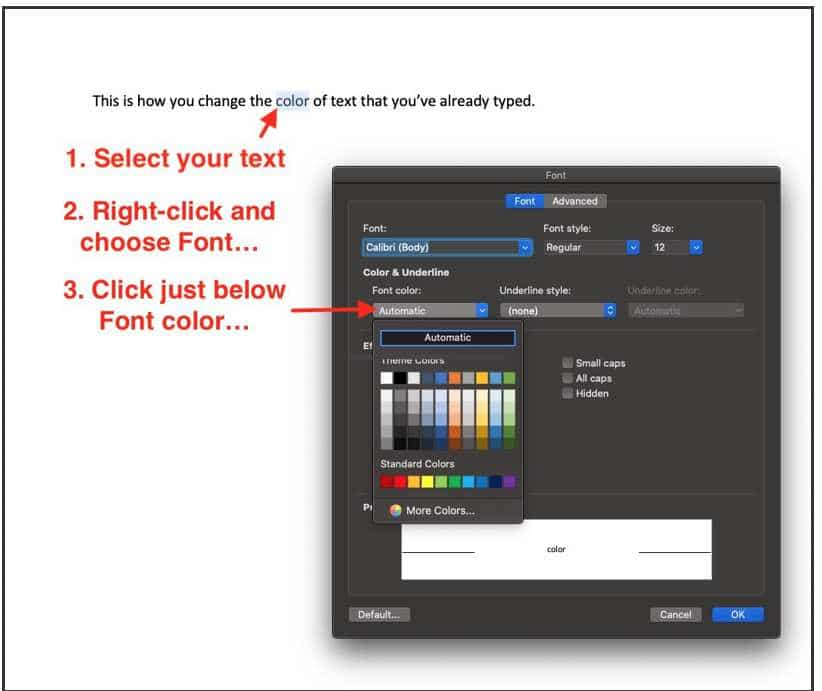 change text color in word