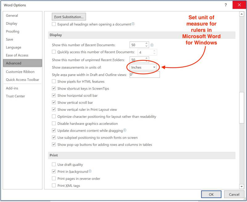 change the units of measure in Microsoft Word