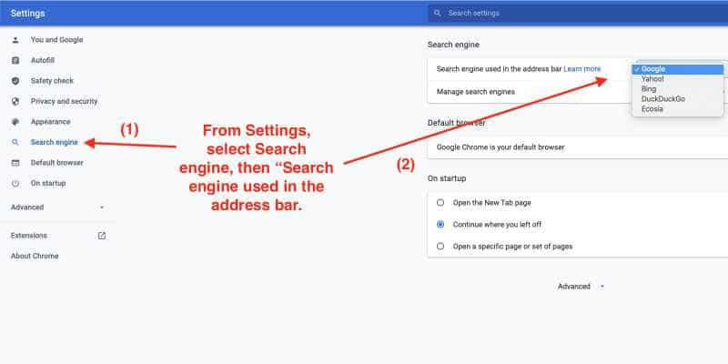 Change the default search engine in Chrome