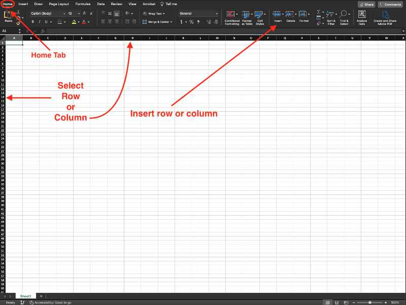 add rows and columns in microsoft excel