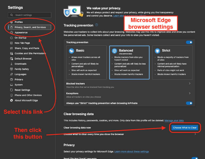 Clear the browser cache in Microsoft Edge