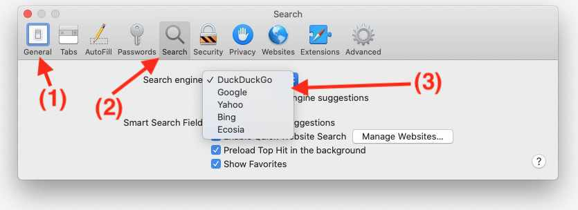 Change default search engine in Safari browser