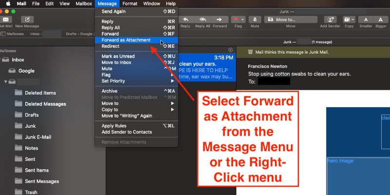 forward emails as attachments in Apple Mail