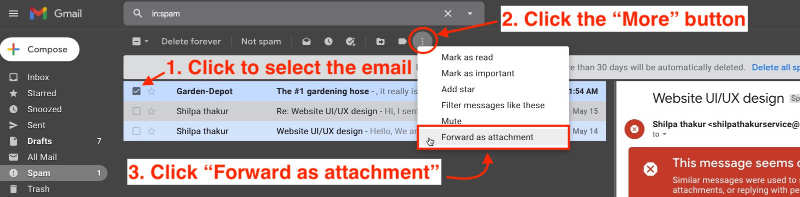 forward emails as attachments in Gmail