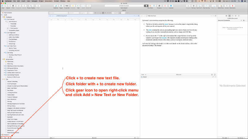 add chapters in scrivener using icons in lower left corner