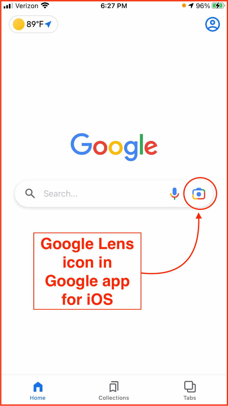 Google app for iOS with Google Lens icon circled