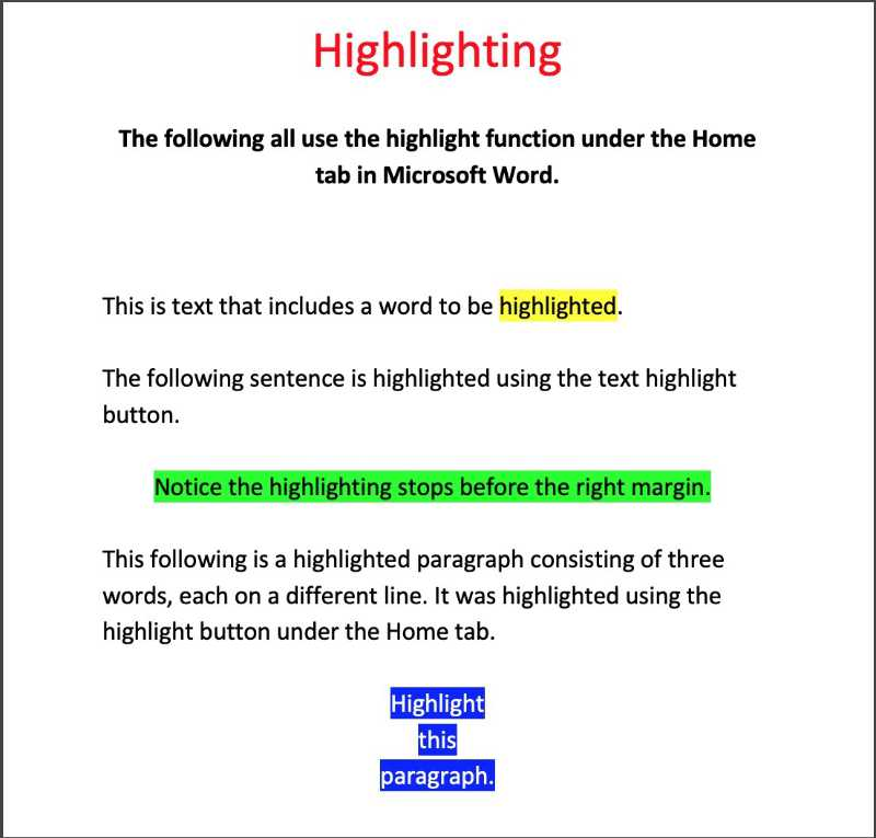 examples of highlighting using the highlight feature in microsoft word