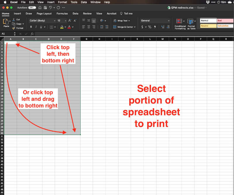 print part of a Microsoft Excel spreadsheet