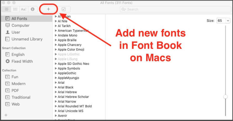 add fonts in Microsoft Word using Font Book app