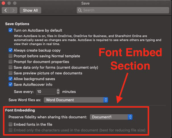 embed fonts in microsoft word for mac
