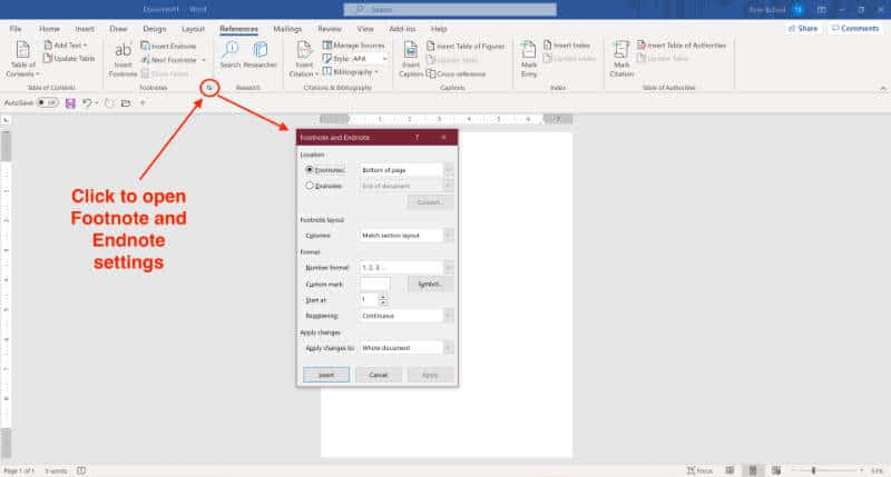 references and citations in ms word footnote and endnote settings microsoft word for windows