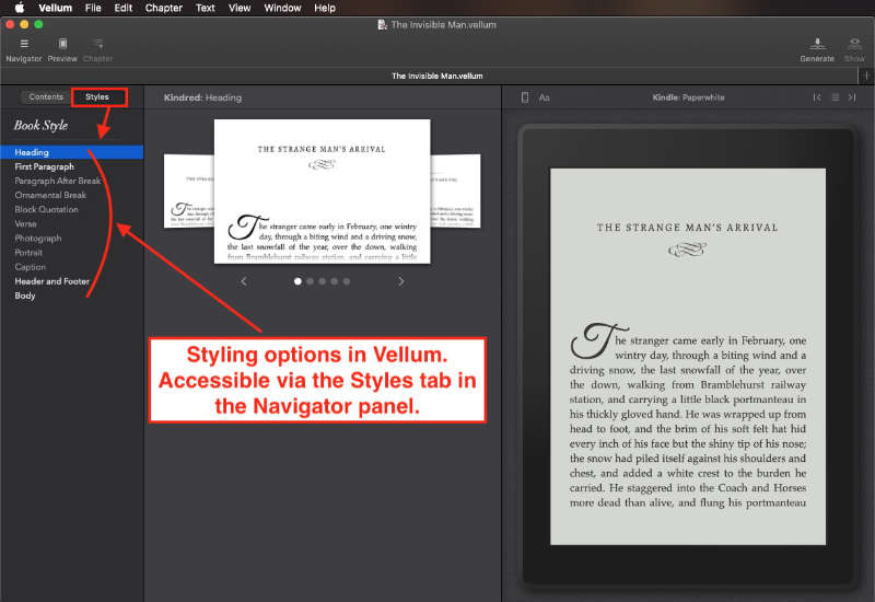 style panel in vellum for mac