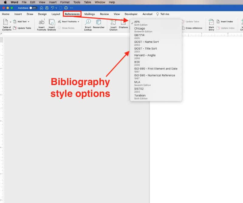 references and citatiions in ms word. bibliography style options microsoft word for macs