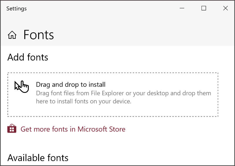 add font in Windows 10 in the minimized font panel