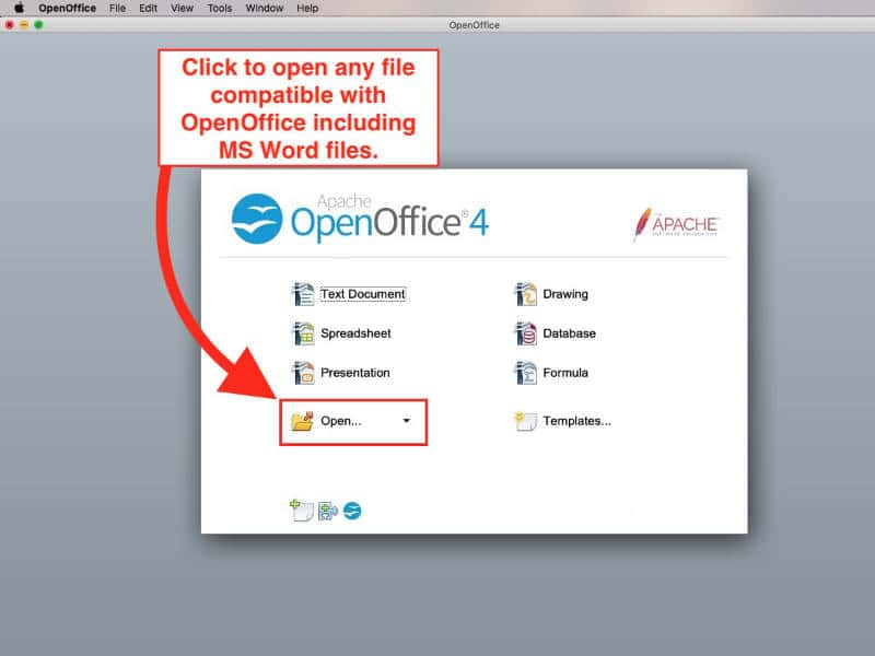 open word documents without word in openoffice
