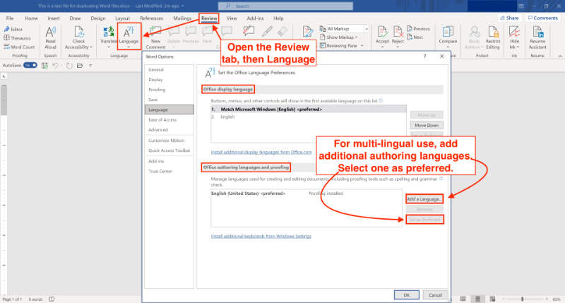 change authoring/spell check language in microsoft word