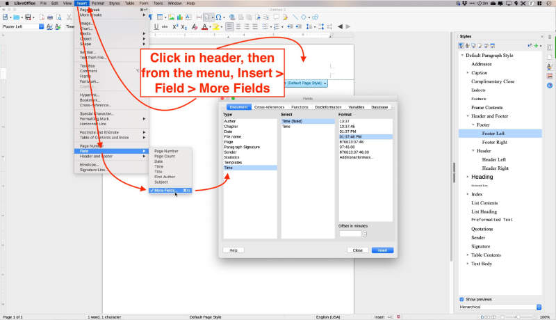 insert fields in headers and footers in libreoffice writer
