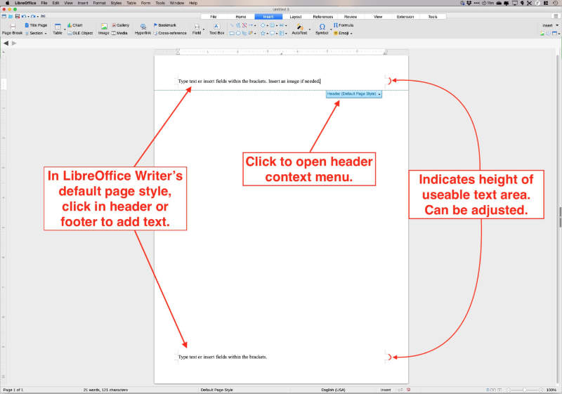 insert headers and footers in libreoffice writer by clicking top or bottom of page