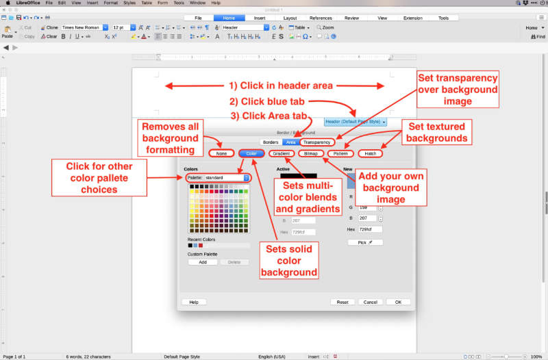 customize background of headers and footers in libreoffice writer