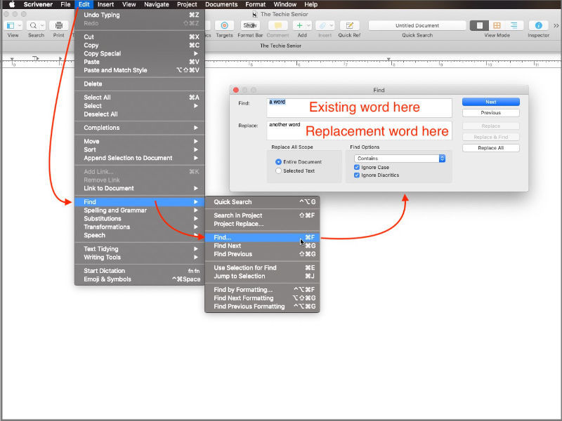 find and replace in Scrivener