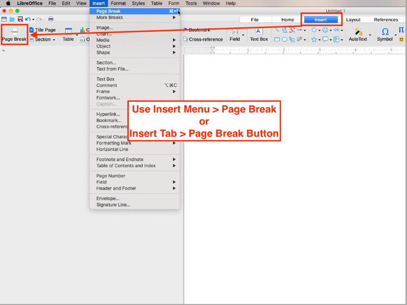 add or delete blank pages in LibreOffice Writer