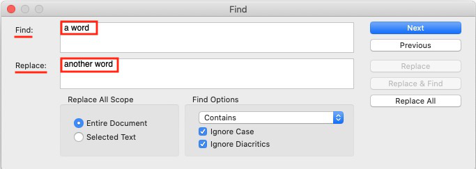 find and replace in scrivener - single document