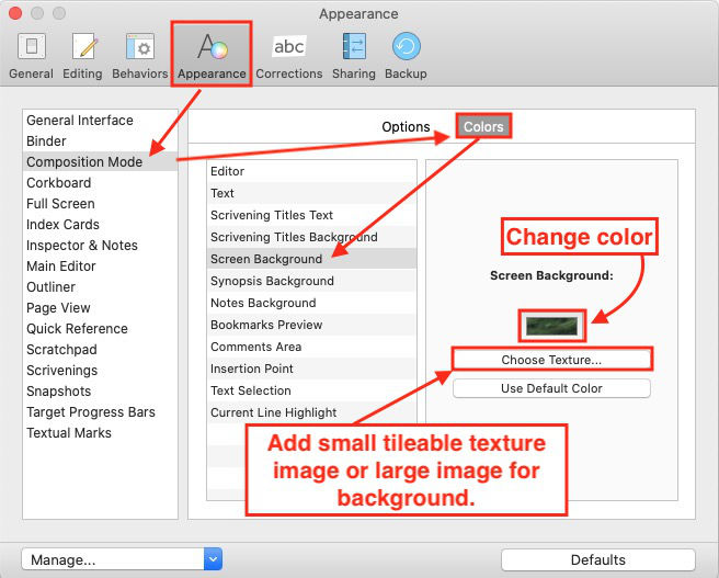 change the background in scrivener composition mode