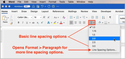 double spacing in microsoft word - line spacing button