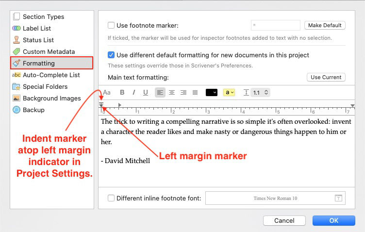 indent in scrivener project settings