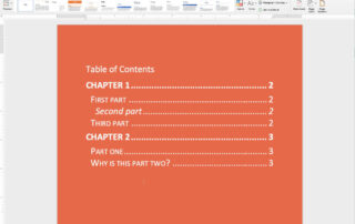 add a table of contents in microsoft word